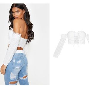 White Broderie Crochet Lace Up Bardot Crop Top